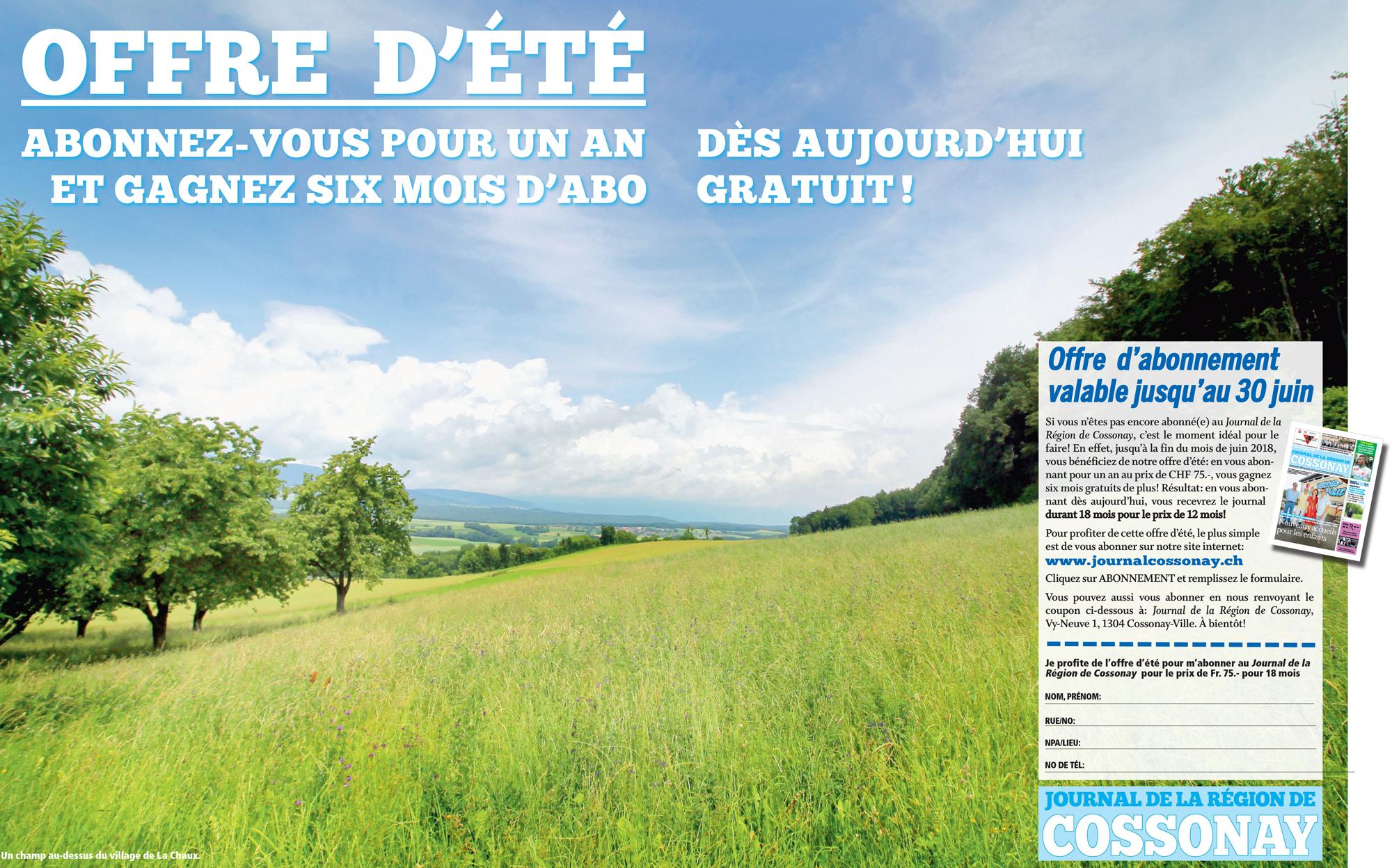 Abonnez-vous au Journal de la région de Cossonay – Offre spéciale d'été