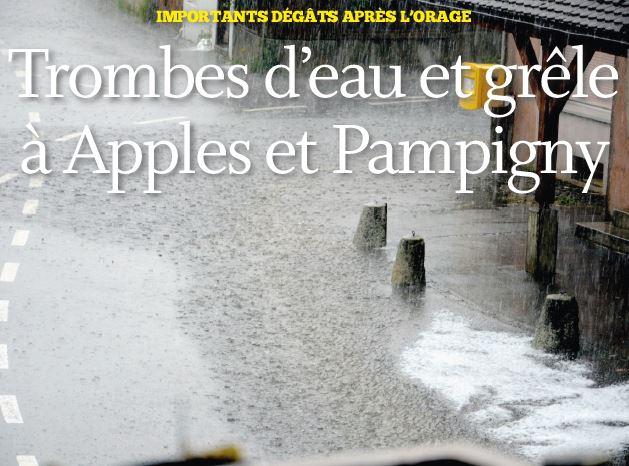 Trombes d'eau et grêle à Apples et Pampigny
